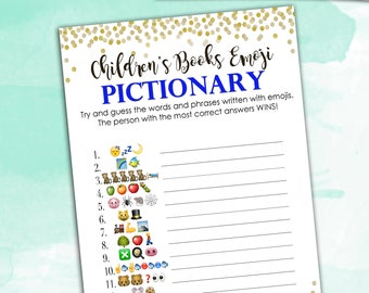 Baby Shower Game Pictionary - Blue EMOJI Pictionary - Children's Books - Instant Printable Digital Download - diy Baby Shower Printables