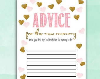 Baby Shower Game Cards - Advice for Mommy - Pink Gold Hearts - Instant Printable Digital Download - diy Baby Shower Shower activities girl