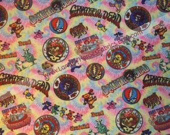 The Grateful Dead on a Great-Looking, 56 Inch WIDE Cotton-Poly Fabric - Sold by the Half-Yard or Yard