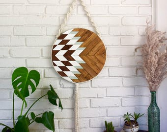 Wood Wall Art - Macrame Wall Hanging - Boho Wood Art - Round Wooden Wall Art - Modern Wood Art - Round Macrame - Fiber Art - Boho Nursery