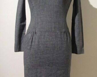True Vintage 60s 70s grey white stripe check shift collar shirt dress size UK 6 8 XS