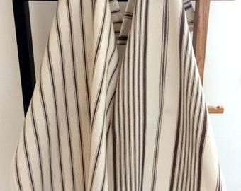 Set of 2 100% Cotton Striped Tea Towels - Cotton Cream & Brown Striped Kitchen Towels