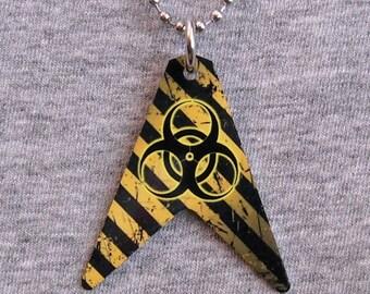 Metal Necklace BIOHAZARD radiation toxic waste hazard symbol danger heavy metal V GUITAR body shape pendant charm shaped