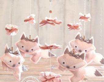 Light Pink Fox Mobile, Baby Girl Mobile/FREE FedEx SHIPPING WORLDWIDE/Baby Girl Nursery Decor/Unique Baby Mobile Hanging/Nursery Mobile Girl