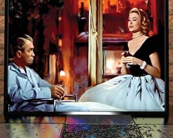 Rear Window Painting Poster Print - Rear Window Illustration - Grace Kelly Illustration - James Stewart Poster - Alfrid Hitchcok Film Art