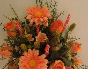 "23"" Spring-Summer Daisey and Roses Arrangement in  Coral colors / Door hanger"
