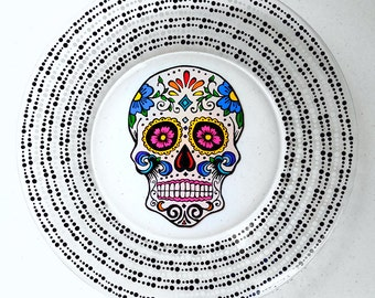 Halloween Plates, Halloween Dinnerware, Halloween Party Decor, Halloween Dishes, Sugar Skull, Sugar Skulls, Day of the Dead, Skull Plates