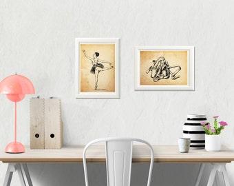 Ballet Art Print, Old paper background, Ballerina Art, Dancer illustration, Ballet teacher gift, Eco Friendly, Black and White Prints