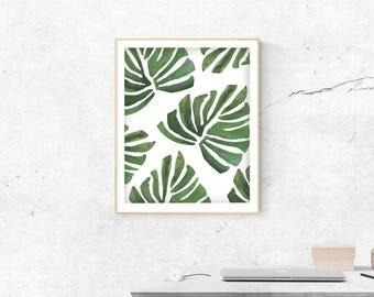 Banana Leaf Print, Digital Print, Banana Leaf Art, Watercolor Banana Leaves Painting, Digital, Mothers Day Gift, Wall Prints, Most