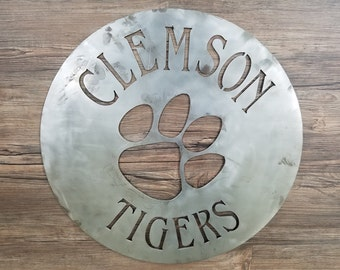 Clemson Tigers Circle With Logo (Home Decor, Sports, Wall Art, Metal Art)