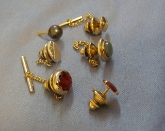 vintage LOT (6) Tie Tack Pins - Jade Stone, Red Glass Gem, Grey Pearl, Starburst w Gem, Red Lucite and SWANK Oval - Scarf Cravat Pin Jewelry