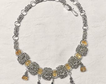 Citrine and .925 Sterling Silver Necklace