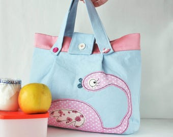 Baby shower gift for daughter Gift for baby girl Cotton bag Fabric bag Little girl Bag Toys storage Small bag Gift for little girl Kids