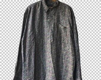 SALE XL 90s Floral Vines Silk Buttondown Shirt Bogari Studio // Men's Extra Large Funky Plants Silk Dress Shirt