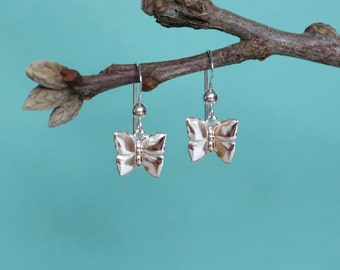 Sterling Silver Butterfly Earrings, Sterling Silver Dangle Earrings, Butterfly Earrings, Silver Butterfly Earrings, Petite Earrings
