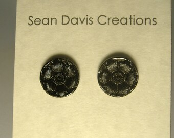 13mm Victorian Era black glass refurbished flower button Earrings, sterling silver Posts and nut E-37s
