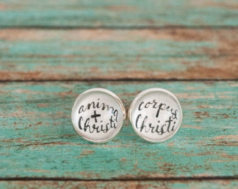 Catholic First Communion Gift, Anima Christi Latin Body of Christ Stud Earrings, Unusual First Communion Presents, Gift from Godparent, 6-12