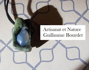 """Handsculpted pendant """"Forest Pond"""" Blue Chalcedony cabochon inlaid into sculpted Nephrite Jade"""