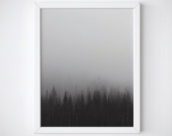 Forest print - woodlands print - forest poster - nature print - black and white print