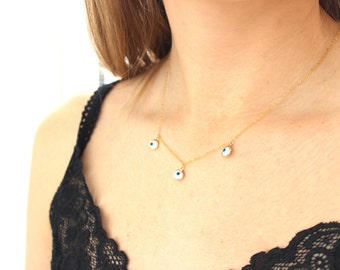 Necklace gold plated Greek eye overlay
