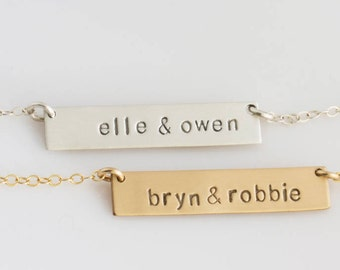 Bar Necklace Personalized Name Plate , Gold Bar Necklace,Gold Name Necklace,Name Bar Necklace,Gift for Her,Gold,Silver,LEILAjewelryshop,N245