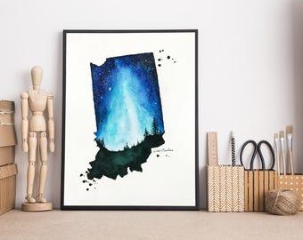 Indiana Map, State map print, Watercolor Painting, Illustration art, Galaxy art, Map Art Gifts, Modern art, Long Distance art, Starry sky