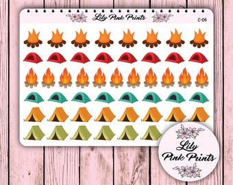51 Camping Stickers C-04 - Perfect for Erin Condren Life Planners / Journals / Die Cut Stickers.