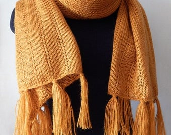 Knitted mustard lace scarf, knitted long wide scarf, mohair scarf, lace wrap, mustard wrap, leightweight scarf, knitted women's scarf,