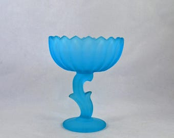 Frosted Blue Flower Compote, Vintage Blue Glass Pedestal Compote