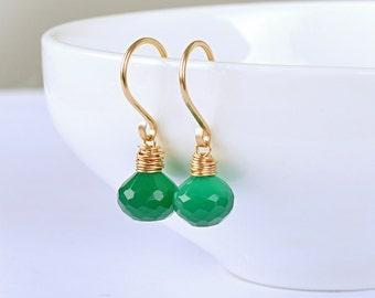 Forest Green Onyx Earrings, Emerald Green Gemstone May Birthstone Dangle drop Leverback Earrings, 14k Rose Gold Filled, Sterling Silver
