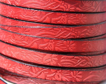 "MADE in SPAIN 24"" of red floral leather cord, 10mm flat engraved leather cord for bracelet, embossed 10mm leather cord (509/10/12)"