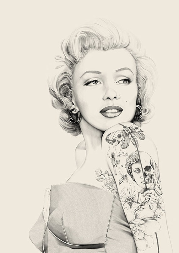 Poster marilyn monroe inked tattoo art print portrait drawing for Marilyn monroe with tattoos poster