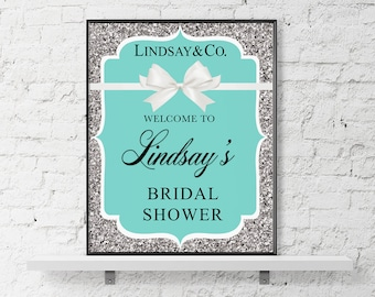 Tiffany Welcome Sign, Breakfast Tiffanys Bridal Shower, Tiffany Baby Shower Blue Welcome Sign Printable, Bride and Co, Mint Welcome Sign