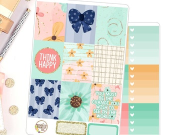 Spring Feels Deluxe Weekly Kit for use in Erin Condren Weekly Kit Floral Planner Stickers