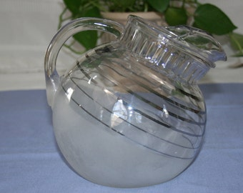 Vintage White Frosted Tilt Ball Pitcher with Silver Accent Lines chrome rings, acid washed juice jug Anchor Hocking