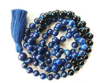 108 Mala Beads, Lapis Lazuli and Onyx Mens Mala Necklace, Navy Blue Meditation Beads Mala 108, Hand Knotted Mala, Long Tassel Necklace