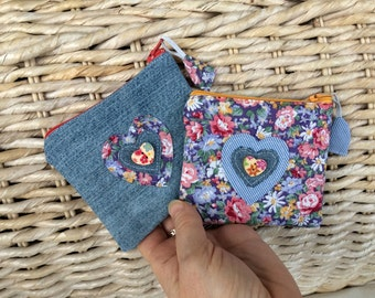 Love Heart Floral n' Denim Coin Purse/  Flowers and Blue Heart Jewelry Pouch / Floral Mini Zipped Travel Pouch / Heart Zipped Organiser