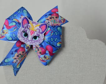 Nahal Tiger Basic Pinwheel Hair Bow With Feltie Center Piece * Shimmer & Shine *