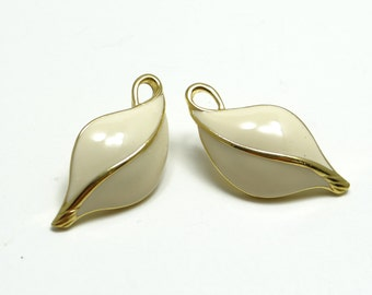 Tifari Earrings, Tifari Gold White Enamel Earrings, Leaf Earrings