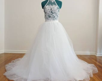 Gorgeous Tulle Wedding Skirt with Horsehair Trim