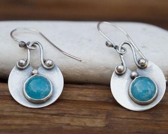 Aquamarine sterling silver earrings, Gemstone silver earrings, Dangle errings,  March birthstone earrings, Handmade silver earrings, Artisan