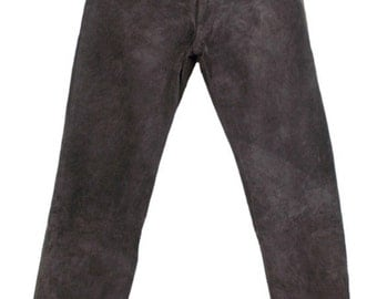 Womens Real Suede Trousers Straight Leg High Waist Vintage 90s Brown W32 L31