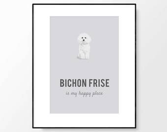 Bichon Frise, Bichon Frise Print, Bichon Frise Wall Art, Bichon Frise Gift, Bichon Illustration, Dog Wall Art, Gift for Her, Digital Print