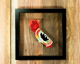 Custom Anchor Steam California Hand Cut Beer Can Art in a Float Frame- Unique gift for your favorite Bar or Man Cave!