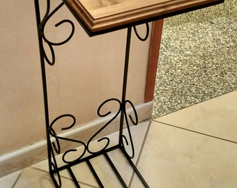coffee table wooden shelf and structure of wrought iron