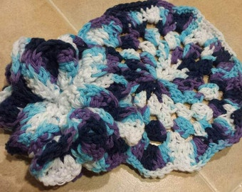 Pouf and Wash Cloth Set. Handmade, Crochet. Cotton Yarn. Face Cloth. Body Scubby.