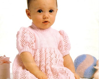"Peter Pan P523 PDF Knitting Pattern for Baby Girl's Dress. Babies & Toddlers 16-20""."