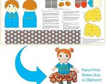 Doll patterns to sew. Cloth doll pattern. Cloth doll making fabric panel. Rag doll sewing pattern. Plushie. Plush. Stuffed elephant. Softie.