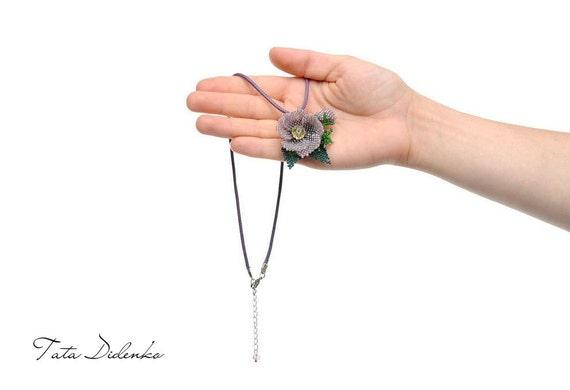 Beaded Flower pendant Beaded brooch Flower jewelry Lilac Flower purple