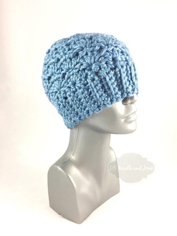 Blue Crochet Hat, Chunky Light Blue Beanie, Crochet Winter Hat, Steel Blue Crochet Beanie, Warm Ski Cap